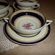 Crown Ducal 4 Cream Soups w/ Plates Cobalt Blue and Gold