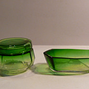 Green Glass 2 piece Dresser Set