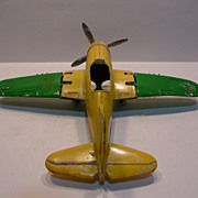 Vintage Hubley Die Cast Airplane with Folding Wings-Tires