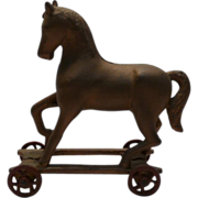 SALE Cast iron Horse on Wheels Bank