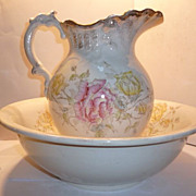 Wheeling Pottery Floral Pitcher & Basin Wash Bowl