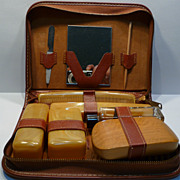 Vintage Leather Men's Bakelite Vanity Kit