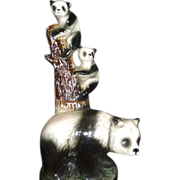 Vintage Jim Beam Panda Bears Liquor/Whiskey Decanter