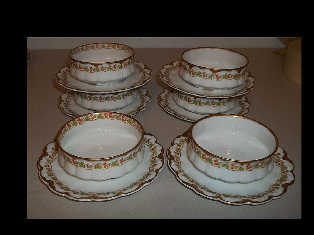 (6)Theodore Haviland Limoges Ramekins and Underplates Clover and Cherry