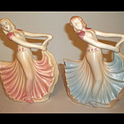 Hull Pottery Two Dancing Girl Planters  #955