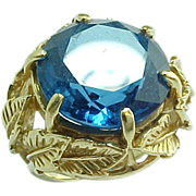 Amazing Organic Modernist 16.26 Carat Round Faceted London Blue Hand Made Ring