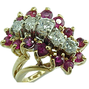 Natural Ruby Red & Diamond Waterfall Ring