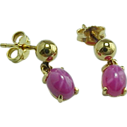 Vintage 14 K Yellow Gold Pink Star Sapphire Drop Earrings