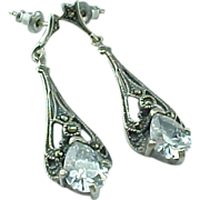 Vintage Sterling Silver Art Deco CZ & Marcasite Drop Earrings