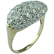 Art Deco Diamond Encrusted 14K Gold Diamond Ring .85 CTW