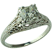 Art Deco Platinum .62 Round European Cut Diamond Intricate Filigree Setting