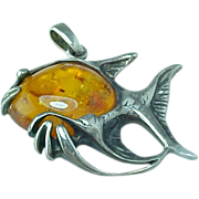 Vintage Sterling Silver Angel Fish Pendant