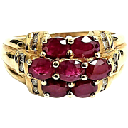 Vintage 14 K Yellow Gold Ruby and Diamond Cluster Ring