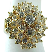 Beautiful 14 K Yellow Gold Diamond Cocktail Ring ~ 2 Carats Diamonds