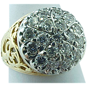 Vintage 14K Yellow Gold Kentucky Diamond Cluster Ring