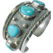 Native American, Navajo Rose Castillo Wide Turquoise Cuff