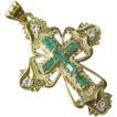 Vintage Three Dimensional 14 K Yellow Gold Cross Accented with Faux Emeralds & Diamonds
