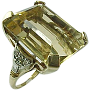 Hand Crafted Vintage 23.5 Carat Emerald Cut Citrine Ring With Diamond Accents