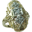 Elongated 14 K Yellow Gold Filigree Diamond Ring