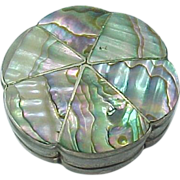 Vintage Mexico Sterling Silver Pill Box / Snuff Box Abalone Inlay