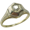 Art Deco Two Tone Diamond Ring ~ 1/10 Carat Diamond