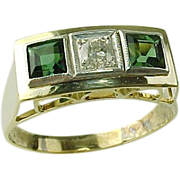 SALE Vintage 14 K Yellow Gold Chrome Tourmaline & Diamond Ring