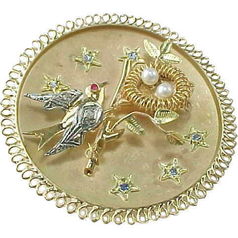 Vintage Two Tone 14 K Birds Nest Large Pendant / Brooch ~ Diamond, Ruby, Sapphire, Pearl