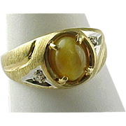 SALE Vintage Mens 14K Yellow Gold Tigers Eye And Diamond Ring