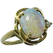 Vintage 14 K Yellow Gold Opal And Rose Cut Diamond Ring