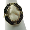 Victorian Angel Skin High Relief Cameo With Black  Enameling and Pearl Ring