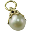 Vintage 14K Yellow Gold 7 mm  Cultured Pearl Pendant