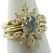 SALE 1.25 Carat Diamond Solitaire With .77 Carat Diamond Marquis Wrap