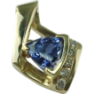 SALE Luxurious Vintage 1.20 Carat Trillion Cut Tanzanite And Diamond Slide