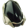 Vintage Hand Crafted Sterling Silver Oval Onyx Ring