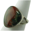 Vintage Sterling Silver Red & Green Polished Agate Ring