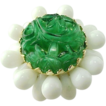Vintage Napier Faux Carved Jade and Faux White Jingle Shell Ring