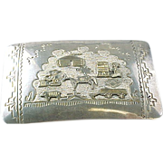 Vintage TA BE Gay Story Teller Sterling Silver /1/20 Gold Filled Belt Buckle