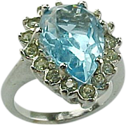 Vintage 3 Carat Pear Shape Faux Blue Topaz & Simulated Diamond Ring