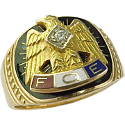 SALE Fraternal Order of Eagles 10 K Gold Diamond Ring