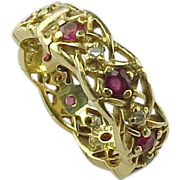 Hubert de Givenchy 14k Diamond and Ruby Eternity Band