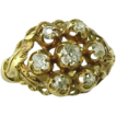 Antique Edwardian Mine Cut Diamond Cluster Ring ~ 18K Gold
