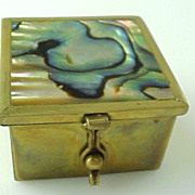 SOLD Mexico, Taxco Brass inlaid Abalone Trinket Box