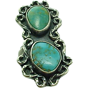 Vintage Sterling Silver Elongated Turquoise Ring