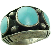 Vintage Sterling Silver, Handmade Unisex Inlaid Sleeping Beauty Enameled Ring
