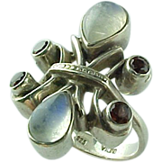 Vintage Sterling Silver Nickey Butler Moonstone & Garnet Ring Circa 1980
