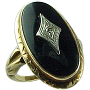 10K Art Deco Diamond & Onyx Ring