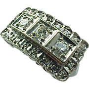 Art Deco 14 K White Gold Diamond Ring ~ .65 CTW