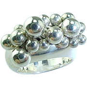 Vintage Hand Made Sterling Silver Multi Jingle Balls Ring