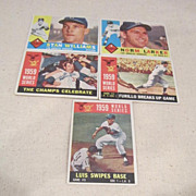 Vintage Topps Baseball Cards 1960 Los Angeles Dodgers 5 Card Set