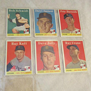 Vintage 1958 San Francisco Giants Baseball Cards Set of 6